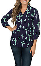 Cowgirl Hardware Women's Navy and Seafoam Fashion Cross High-Low Fashion Shirt
