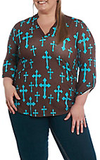 Cowgirl Hardware Women's Brown and Turquoise Fashion Cross Fashion Top - Plus Sizes