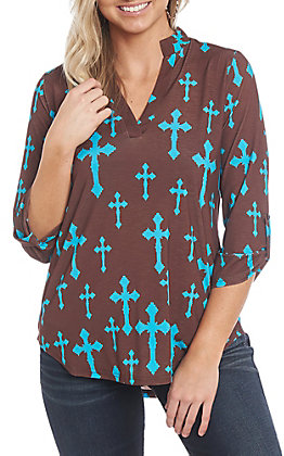 Cowgirl Hardware Women's Brown and Turquoise Fashion Cross Fashion Top