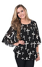 Cowgirl Hardware Women's Black with Cream Cross 3/4 Sleeve Chiffon Fashion Top