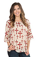 Cowgirl Hardware Women's Cream with Burgundy Cross 3/4 Sleeve Chiffon Fashion Top