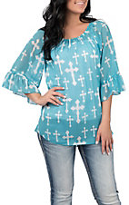 Cowgirl Hardware Women's Turquoise and White Cross Print 3/4 Bell Sleeve Fashion Shirt
