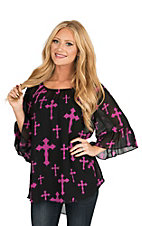 Cowgirl Hardware Women's Black and Pink Cross Print 3/4 Bell Sleeve Fashion Top