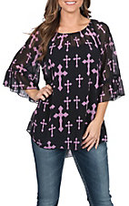 Cowgirl Hardware Women's Black and Lavender Cross Print 3/4 Bell Sleeve Fashion Shirt