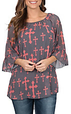 Cowgirl Hardware Women's Charcoal and Coral Cross Print 3/4 Bell Sleeve Fashion Shirt