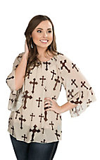 Cowgirl Hardware Women's Cream with Brown Cross Print 3/4 Bell Sleeve Fashion Top