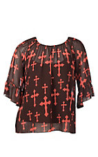 Cowgirl Hardware Women's Brown & Coral Fashion Cross 3/4 Bell Sleeve Fashion Shirt - Plus Size