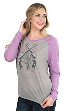 Cowgirl Hardware Women's Grey with Pistols and Rose Screen Print and Purple Long Sleeves Casual Knit Top