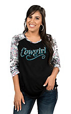 Cowgirl Hardware Women's Black with Cowgirl Stud Embellishment and Paisley Print 3/4 Sleeves Casual Knit Top