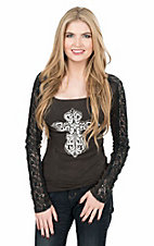 Cowgirl Hardware Women's Black Ribbed with Embellished White Cross Long Lace Sleeve Casual Knit Top
