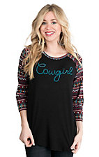 Cowgirl Hardware Women's Black with Studded Cowgirl on Front and Aztec Print 3/4 Sleeves Casual Knit Top