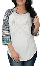 Cowgirl Hardware Women's White w/ Aztec Raglan Sleeve and Arrows Casual Knit Shirt