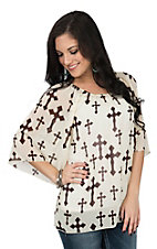 Cowgirl Hardware Women's Cream & Brown Chiffon Cross Fashion Shirt