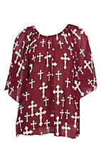 Cowgirl Hardware Women's Aggie Maroon Off The Shoulder Chiffon Cross Fashion Top - Plus Size