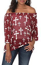 Cowgirl Hardware Women's Aggie Maroon Off The Shoulder Chiffon Cross Fashion Top