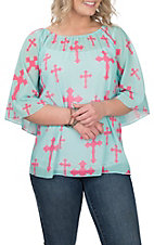 Cowgirl Hardware Women's Mint with Pink Cross Print 3/4 Bell Sleeve Fashion Shirt
