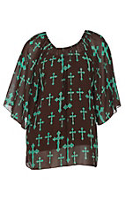 Cowgirl Hardware Women's Chocolate with Mint Cross Print 3/4 Bell Sleeve Fashion Top - Plus