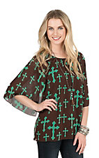 Cowgirl Hardware Women's Chocolate with Mint Cross Print 3/4 Bell Sleeve Fashion Top