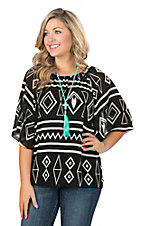 Cowgirl Hardware Women's Black with White Aztec Print 3/4 Bell Sleeve Fashion Top