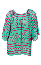 Cowgirl Hardware Women's Green with Magenta Aztec Print 3/4 Bell Sleeve Fashion Top