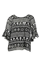 Cowgirl Hardware Women's Black & White Chiffon Aztec Cross Fashion Shirt - Plus Size