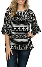 Cowgirl Hardware Women's Black & White Chiffon Aztec Cross Fashion Shirt