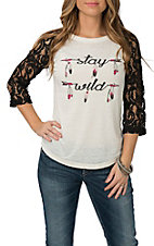Cowgirl Hardware Women's Cream Stay Wild Casual Knit Shirt