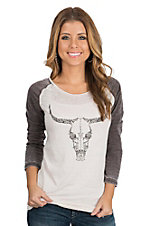 Cowgirl Hardware Cream and Brown Vine Skull Raglan 3/4 Sleeve Casual Knit Shirt