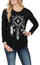Cowgirl Hardware Women's Black Aztec Feathers w/ Lace Back Casual Knit shirt