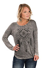 Cowgirl Hardware Women's Grey Long Sleeve Aztec Feather Casual Knit Top