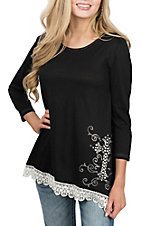 Cowgirl Hardware Women's Black Tunic w/ Cross Swirls Casual Knit Shirt