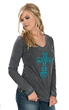 Cowgirl Hardware Women's Heathered Charcoal Steel Blue Cross Long Sleeve Casual Knit Shirt