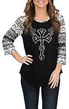 Cowgirl Hardware Women's Black Aztec Printed Sleeve Winged Cross Casual Knit Shirt