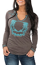 Cowgirl Hardware Women's Brown with Turquoise Embroidered Horseshoe Western Casual Knit Shirt