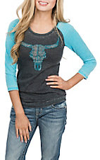 Cowgirl Hardware Women's Grey and Turquoise Crystal Skull Raglan Casual Knit Shirt