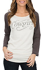 Cowgirl Hardware Women's Cream and Brown Sassy Cowgirl 3/4 Sleeve Casual Knit Shirt