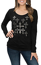 Cowgirl Hardware Women's Black Faux Suede Lace Back & Allover Crosses Casual Knit Shirt