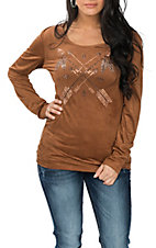 Cowgirl Hardware Women's Mocha Faux Suede Lace Back Crossed Arrows Casual Knit Shirt