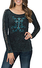 Cowgirl Hardware Women's Turquoise Classic Cross with Swirls and Lace Sleeve Casual Knit Shirt