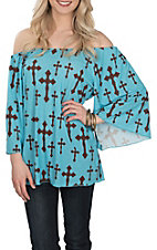 Cowgirl Hardware Women's Turquoise w/ Brown Crosses & Angel Sleeves Fashion Shirt