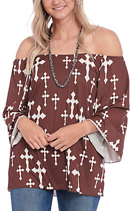 Cowgirl Hardware Women's Brown with White Cross Bell Sleeve Fashion Top