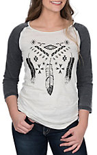 Cowgirl Hardware Women's Aztec Feathers Basic Raglan Tee