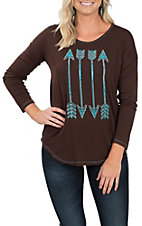 Cowgirl Hardware Women's Chocolate Arrows Long Sleeve T-Shirt
