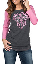 Cowgirl Hardware Women's Filigree Cross Basic Raglan Tee