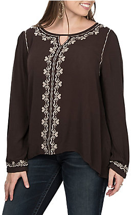 Cowgirl Hardware Women's Chocolate Brown Embroidered Long Sleeve Blouse
