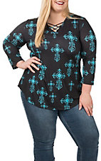 Cowgirl Hardware Women's Steel Cross Black and Turquoise Tunic - Plus Sizes