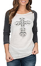 Cowgirl Hardware Women's Rhinestone Cross Basic Raglan Tee