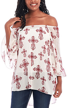 Cowgirl Hardware Women's Cream with Maroon Cross Bell Sleeve Fashion Top