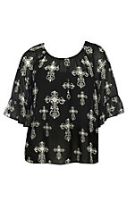 Cowgirl Hardware Women's Black Off The Shoulder Chiffon Cross Fashion Top - Plus Sizes