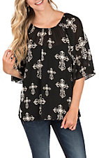 Cowgirl Hardware Women's Black Off The Shoulder Chiffon Cross Fashion Top
